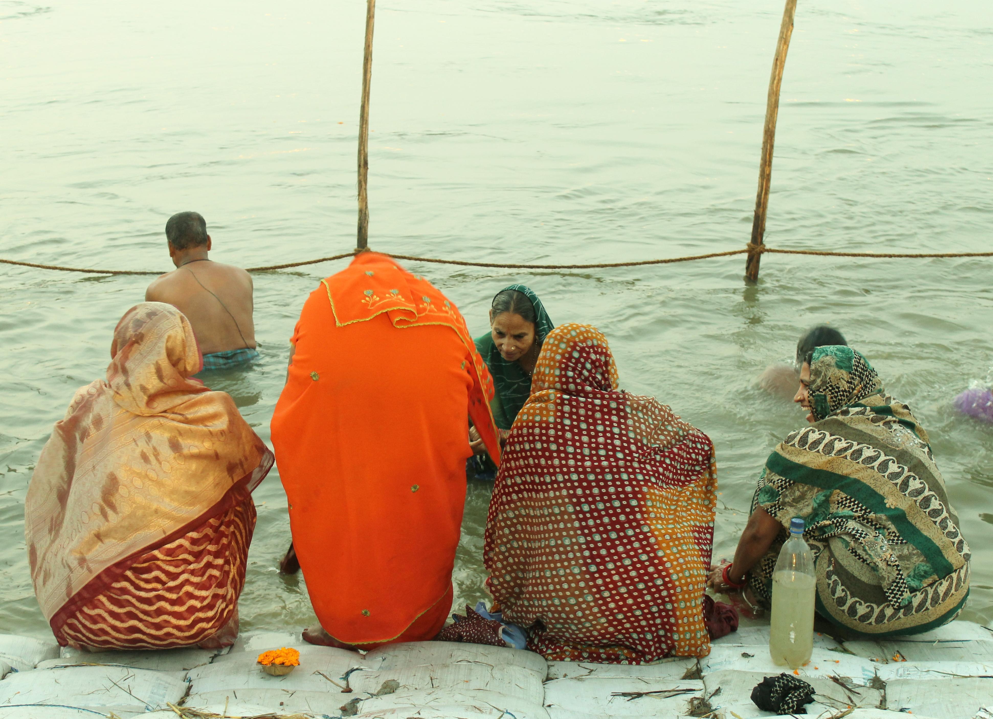 Kumbh Mela India - women about to take a dip